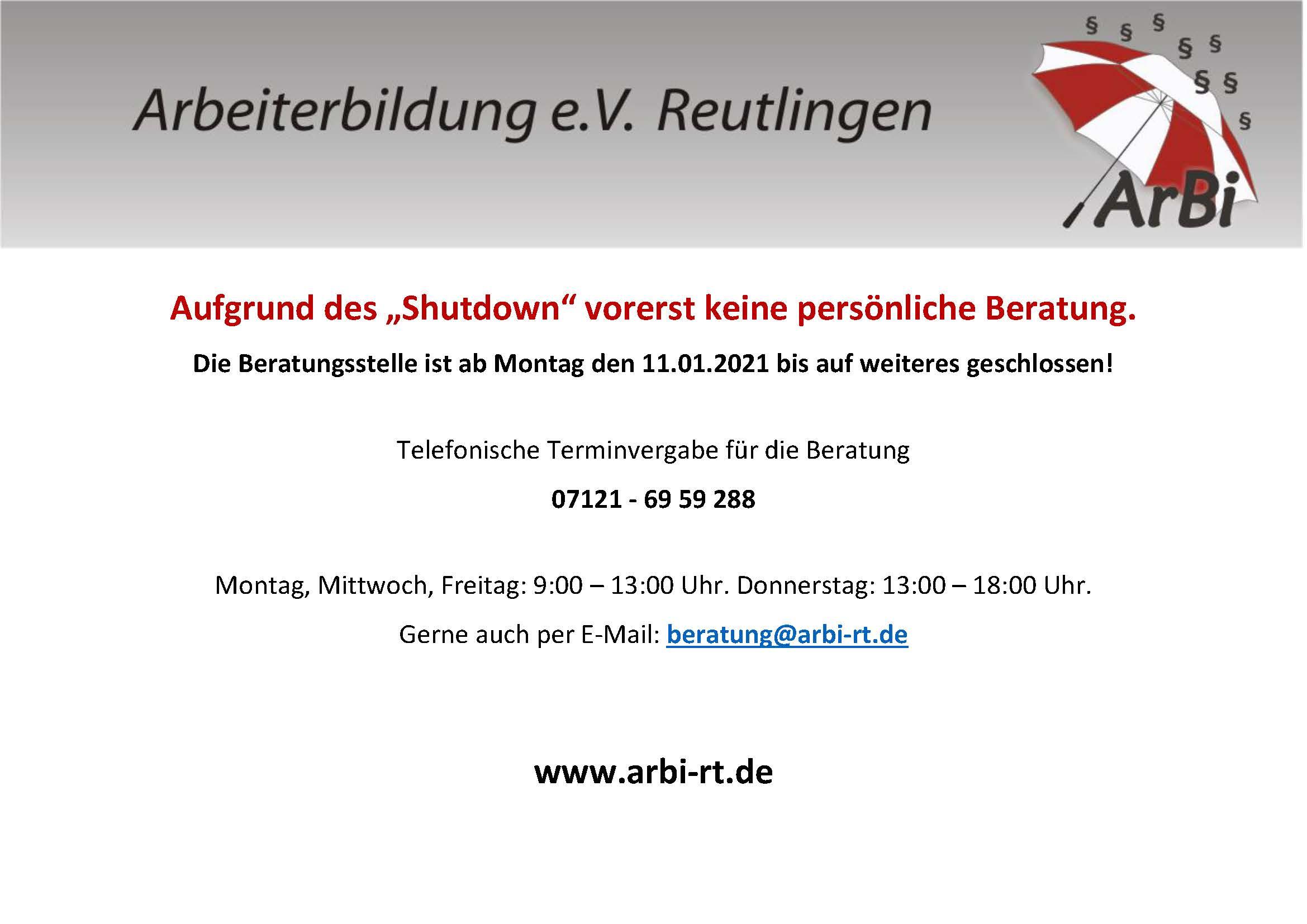 ArBi Einschränkungen wg Corona Shutdown